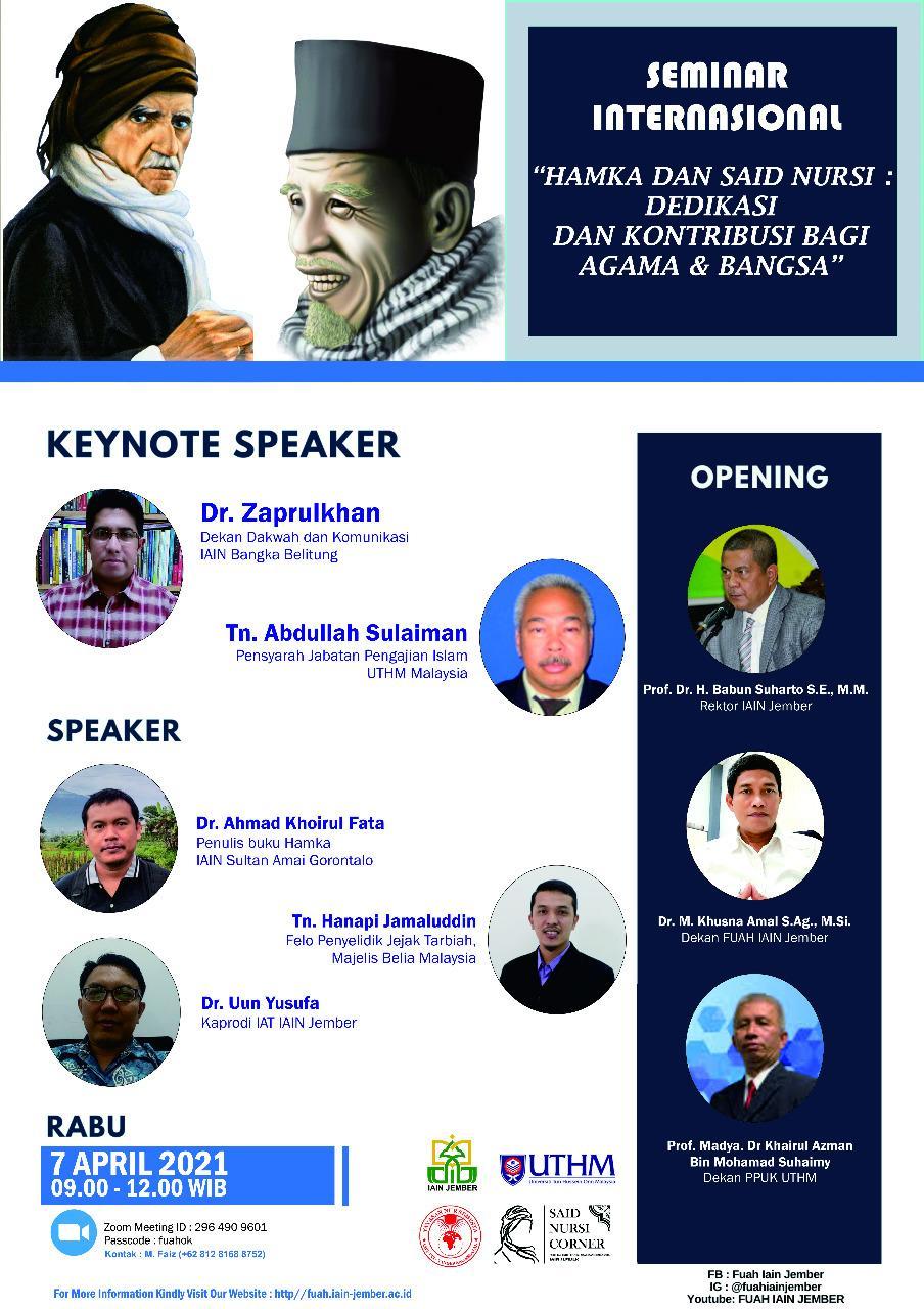 Dekan Fakultas Dakwah  dan Komunikasi Islam (FDKI) IAIN SAS Babel menjadi Pembicara pada Seminar Internasional