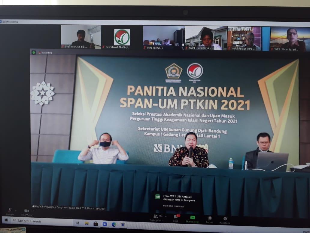 IAIN SAS Bangka Belitung Ikuti Sosialisasi SADATA dan Pengisian PDSS SPAN PTKIN Tahun 2021