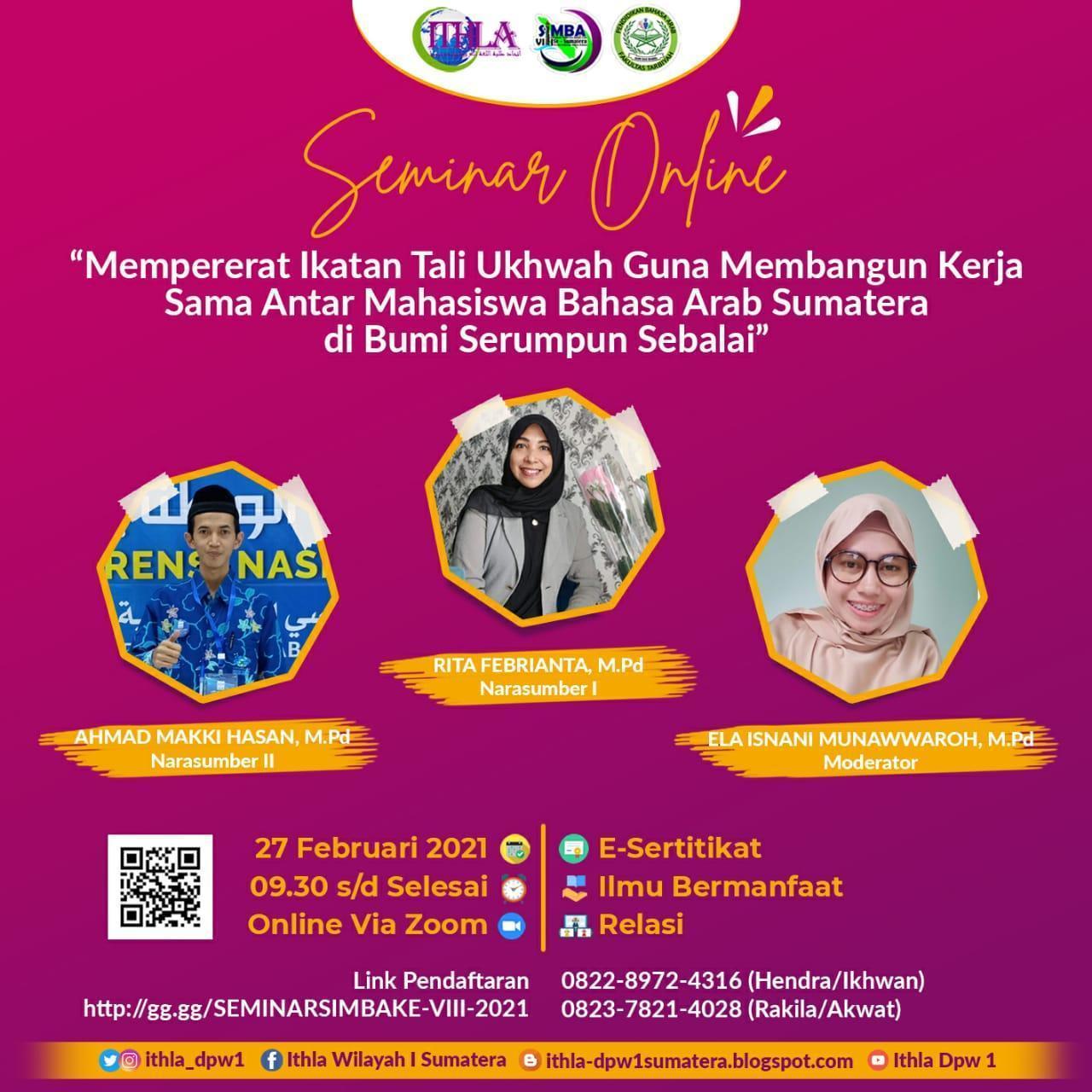 Mahasiswa Prodi PBA IAIN SAS Bangka Belitung adakan Seminar Nasional Online dalam kegiatan SIMBA ke VIII Wilayah Sumatera