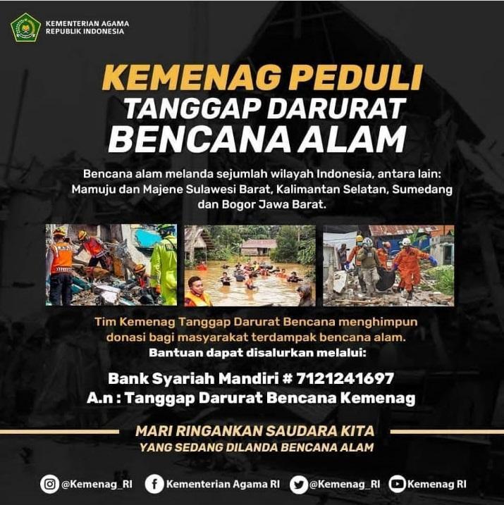 Peduli Bencana Alam: Rektor Ajak Semua Pimpinan dan Civitas Akademika IAIN SAS BABEL Galang Bantuan Sumbangan