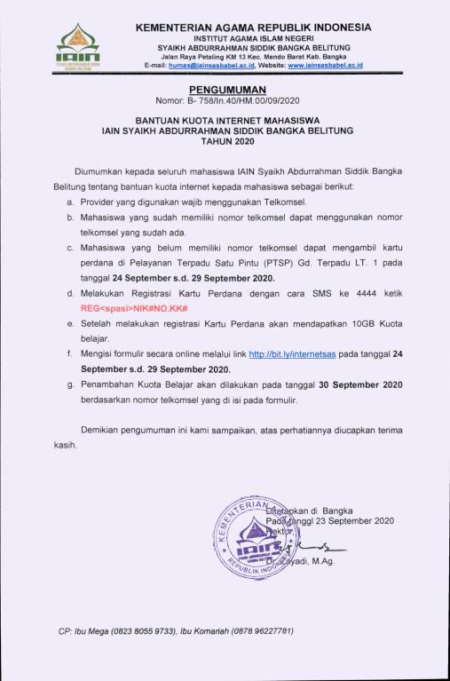 Pengumuman Bantuan Kuota Internet Mahasiswa IAIN Syaikh Abdurrahman Siddik Bangka Belitung
