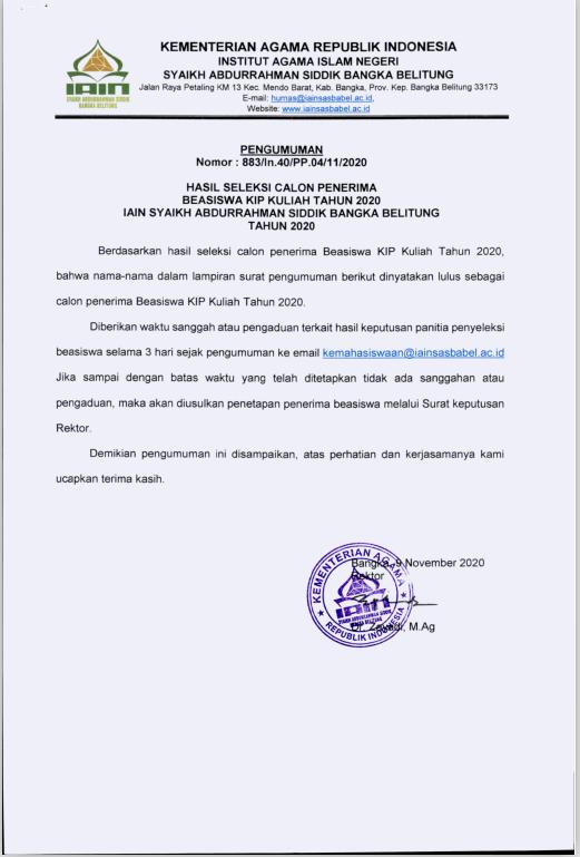 Pengumuman Hasil Seleksi Calon Penerima Beasiswa KIP Kuliah IAIN Syaikh Abdurrahman Siddik Bangka Belitung Tahun 2020