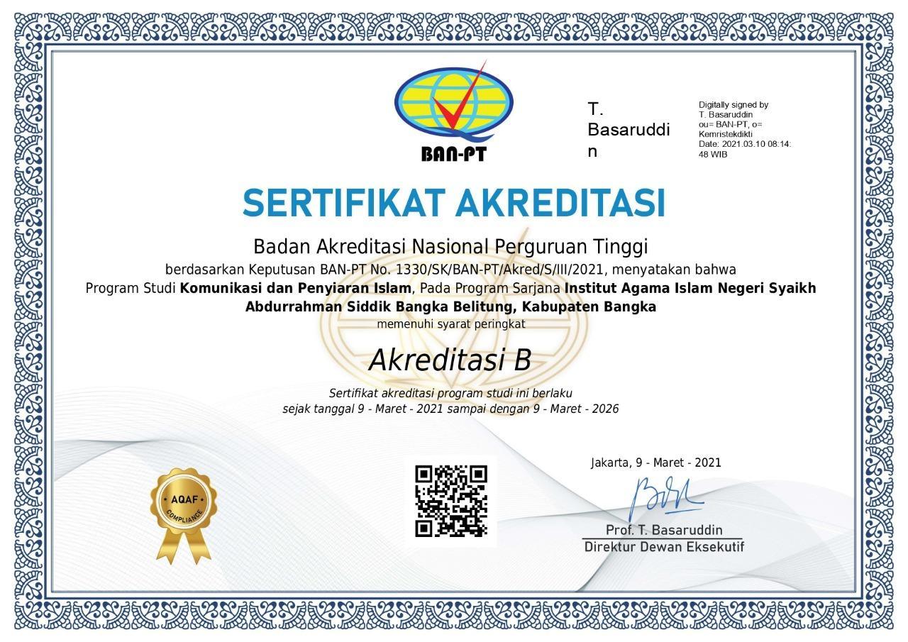 Prodi KPI FDKI IAIN SAS Bangka Belitung Raih Akreditasi B dari BAN-PT