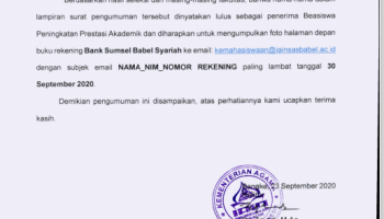 Hasil Seleksi Penerima Beasiswa Peningkatan Prestasi Akademik (PPA) IAIN Syaikh Abdurrahman Siddik Bangka Belitung Tahun 2020