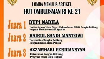 Mahasiswi Fakultas Syariah dan Ekonomi Islam Raih Juara 1 Lomba Menulis Artikel Tingkat Provinsi