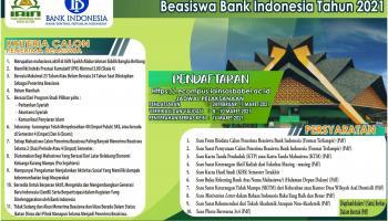 Pendaftaran Calon Penerima Beasiswa Bank Indonesia Tahun 2021